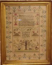 A GEORGE IV PERIOD NEEDLEWORK SAMPLER