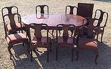 A 20TH CENTURY CHINESE ROSEWOOD D END DINING TABLE