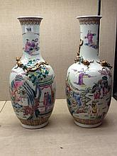 A PAIR OF CHINESE 19TH CENTURY MARK AND PERIOD DAQING XIENFENG NIANZHI VASES
