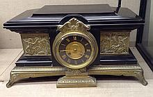 A LARGE 19TH CENTURY BRONZE AND BLACK BELGIAN MARBLE MANTLE CLOCK