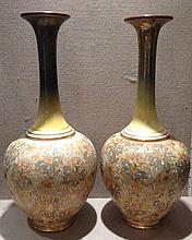 A LARGE PAIR OF ROYAL DOULTON SLATERS VASES The f