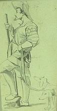 THOMAS HARTLEY CROMEK, 19TH CENTURY PENCIL SKETCH