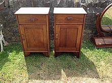 A PAIR OF 19TH CENTURY FRENCH WALNUT AND OAK BEDS