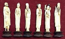 A GROUP OF SIX CHINESE IVORY CARVED FIGURES OF IM