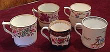 FOUR EARLY 19TH CENTURY COFFEE CANS AND ONE FROM