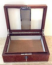 AN EARLY 20TH CENTURY AMBOYNA HUMIDOR With chrome fittings, complete w
