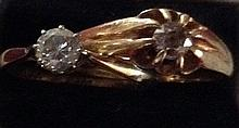 A 20TH CENTURY 18CT AND DIAMOND SOLITAIRE RING Together with a yellow