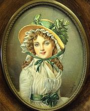 J. RENAUD, A LATE 19TH/EARLY 20TH CENTURY MINIATURE OIL PAINTING ON IVORY