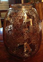 A VENETIAN ART DECO INSPIRED SILVER OVERLAID SMOKY GLASS VASE Decorate