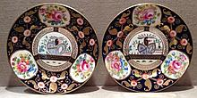 A PAIR OF EARLY 20TH CENTURY CROWN STAFFORDSHIRE PORCELAIN PLATES With