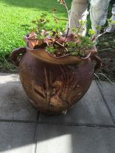 Large Pottery Pot with Australia Flora and Fauna