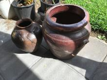 Large Pottery Barrell and one other - Australian