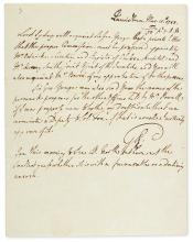 (AMERICAN REVOLUTION.) GEORGE III; KING OF ENGLAND. Autograph Note Signed,