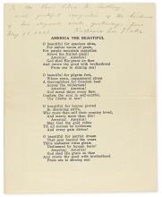 BATES, KATHARINE LEE. Printed lyrics of her