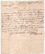 """PEPPERRELL, WILLIAM. Autograph Letter Signed, """"Wm Pepperrell,"""" to John Hill,"""