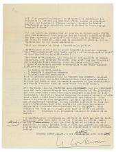 (ARCHITECTS.) LE CORBUSIER. Typed Letter Signed, with a few holograph corrections, to Marie-Anne Febvre, in French,
