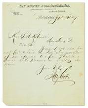 (BUSINESS.) COOKE, JAY. Brief Autograph Letter Signed, to Rev. T.H. Robinson,