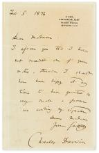DARWIN, CHARLES. Brief Autograph Letter Signed, to