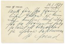 "FREUD, SIGMUND. Brief Autograph Letter Signed, ""Freud,"" to Sam M. Howard, in German:"