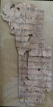 (PAPYRUS.) Papyrus manuscript fragment, in Greek,