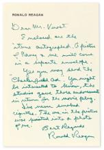 "REAGAN, RONALD. Autograph Letter Signed, to ""Dear Mr. Verost,"" in green ink,"