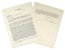 ROOSEVELT, FRANKLIN D. Typed Letter Signed, as President, to Representative Samuel Rayburn,