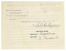 ROOSEVELT, THEODORE. Endorsement Signed,