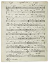 COLTRANE, JOHN. Autograph Musical Manuscript, unsigned, draft of the guitar part for a composition entitled