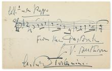 TOSCANINI, ARTURO. Autograph Musical Quotation Signed, four bars from Beethoven's