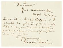 TWAIN, MARK. Autograph Note Signed: