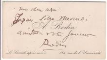 RODIN, AUGUSTE. Autograph Note Signed, to an unknown recipient, on his printed calling card, in French:
