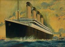 MONTAGUE BIRRELL BLACK (1884-1964). [WHITE STAR LINE / OLYMPIC & TITANIC.] Circa 1910. 29x39 inches, 73x99 cm. [Liverpool Printing & St