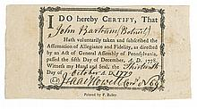(AMERICAN REVOLUTION.) Loyalty oath certificate issued to John Bartram of Philadelphia.