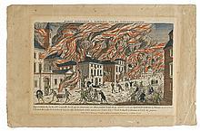(AMERICAN REVOLUTION--PRINTS.) [Habermann, François X.; engraver.] Representation du Feu Terrible a Nouvelle Yorck.