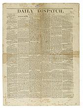 (CIVIL WAR--NEWSPAPER.) The final issue of the Richmond Daily Dispatch before the arrival of the Union troops.