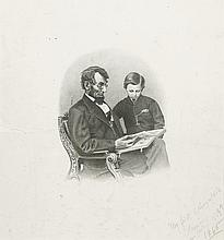 (LINCOLN, ABRAHAM.) Plumb, Henry Grant; lithographer; after Anthony Berger. [President Lincoln Reading to His Son.]