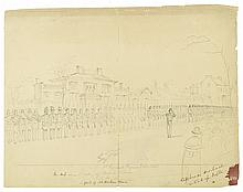 (SLAVERY AND ABOLITION.) [Berghaus, Albert?] Pair of drawings of the Virginia militia standing guard before John Brown's execution.