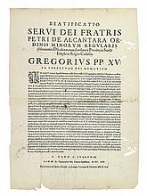 (PERUVIAN IMPRINT.) Gregory XV, Pope. Beatificatio Servi Dei Fratris Petri de Alcantara Ordinis Minorum Regularis.