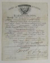 (AMERICAN INDIANS.) Discharge issued to an Indian scout in the United States Army.