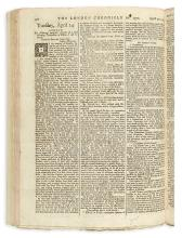 (AMERICAN REVOLUTION--PRELUDE.) A bound run of the London Chronicle with coverage of Boston Massacre and its aftermath.