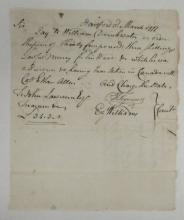 (AMERICAN REVOLUTION.) Order to pay William Drinkwater, captured with Ethan Allen at Montreal.