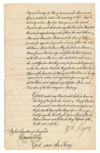 (AMERICAN REVOLUTION.) Tryon, William. Proclamation ordering the arrest of Ethan Allen and other leaders of the Green Mountain Boys.