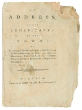 (AMERICAN REVOLUTION.) [Woodward, Bezaleel?] An Address of the Inhabitants of the Towns of Plainfield, Lebanon . . .