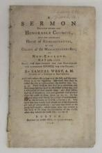 (AMERICAN REVOLUTION.) West, Samuel. A Sermon Preached before the Honorable Council . . . of Massachusetts-Bay . . . May 29th, 1776.