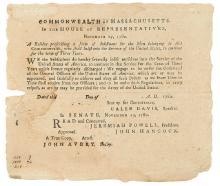(AMERICAN REVOLUTION--BROADSIDE.) Massachusetts, Commonwealth of. A Resolve Prescribing the Form of Inlistment . . .