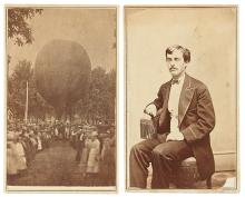 (AVIATION.) Pair of cartes-de-visite of aeronaut Herman D. Squires and his balloon.