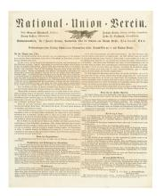 (CIVIL WAR--OHIO.) Caldwell, John Day. German-language announcement of the formation of the National-Union-Verein.