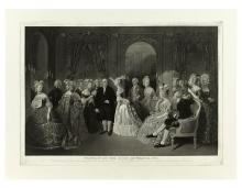 (FRANKLIN, BENJAMIN.) Geller, William O., engraver; after Baron Jolly. Franklin at the Court of France, 1778.