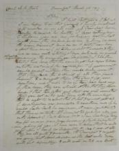 (IOWA.) LeClaire, Antoine. Long letter by the founder of Davenport, six weeks after its incorporation.