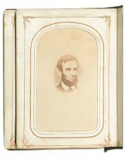 (LINCOLN, ABRAHAM.) Carte-de-visite album feauring 8 Lincoln-related photographs.